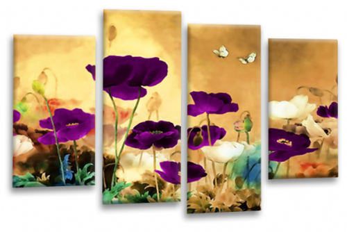 CHINESE FLORAL FLOWER SPLIT MULTI 4 PANEL BEIGE PURPLE WHITE  PICTURE